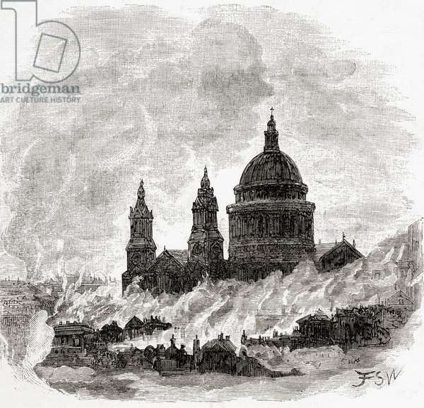 The Great Fire of London, England, 1666, from the book London Pictures drawn with pen and pencil by The Rev Richard Lovett, pub. 1890
