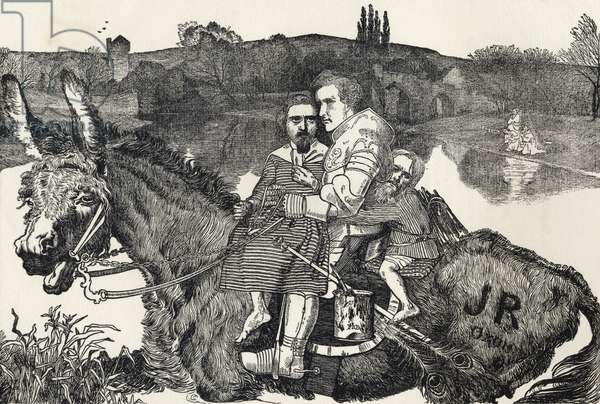 Sir Isumbras at the Ford, from 'A Catalogue of a Collection of Engravings, Etchings and Woodcuts', by Richard Fisher, published 1879 (litho)
