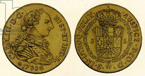 A 1788 Spanish gold 8-doubloon coin, or piece of eight, showing the head of the Spanish king Charles III, from Enciclopedia Ilustrada Segui, c.1900