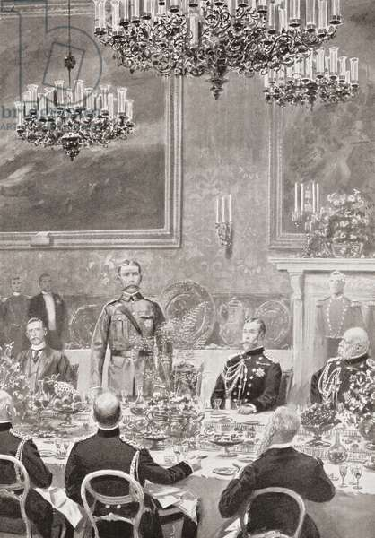 Lord Kitchener replying to the toast of his health at the banquet at St. James's Palace, London, England, July 12, 1902 held to celebrate his homecoming. Field Marshal Horatio Herbert Kitchener, 1st Earl Kitchener, 1850 – 1916. British Field Marshal.   From Field Marshal Lord Kitchener, His Life and Work for the Empire, published 1916.