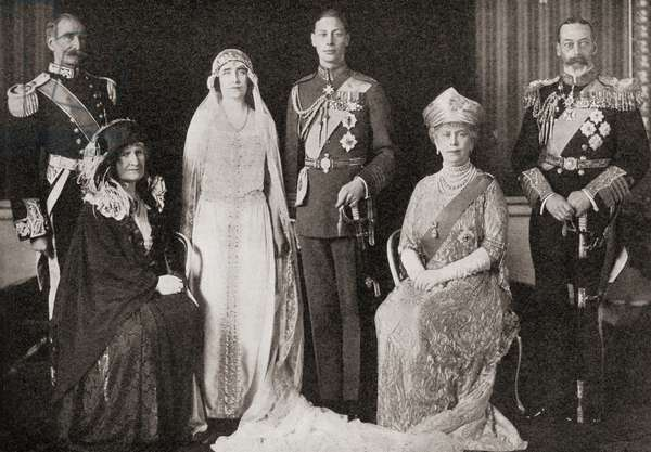 The British Royal Family at the wedding of The Duke and Duchess of York, 1923, from 'The Story of Twenty Five Years', published 1935 (b/w photo)
