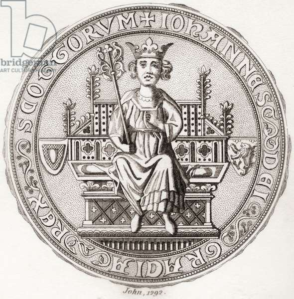 "Seal of John Balliol, c.?1249 – 1314, aka,Toom Tabard, Scots for ""empty coat"", King of Scots.  From Iconographia Scotica or Portraits of Illustrious Persons of Scotland, published 1797."