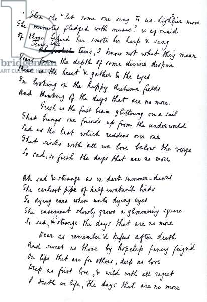 Original draft for the poem 'Tears Idle Tears', first published c.1847 (litho)