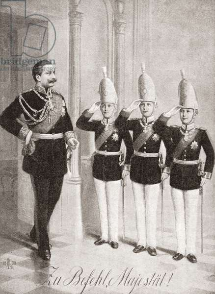 Kaiser Wilhelm being saluted by three of his sons.  Wilhelm II or William II,  1859 –1941.  Last German Emperor (Kaiser) and King of Prussia.  From The Strand Magazine, published 1896