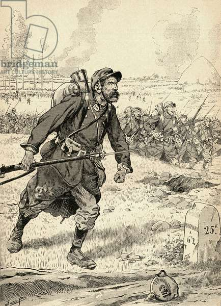 French soldier advances during the first Battle of the Marne, France, 1914, during World War One.