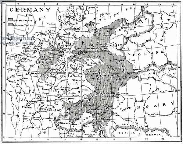 Map of Germany in 1815 after the Congress of Vienna, from Hutchinson's History of the Nations, pub. 1915
