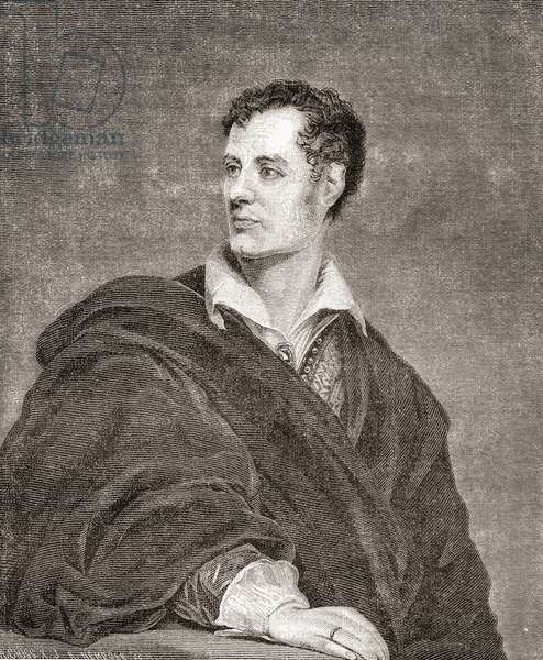 George Gordon Byron, 6th Baron Byron, later George Gordon Noel, 1788 – 1824, commonly known simply as Lord Byron.  English poet.  From Nuestro Siglo, published 1883.