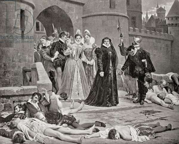 Catherine de' Medici sees victims of the The St. Bartholomew's Day massacre in 1572, from Hutchinson's History of the Nations, pub. 1915