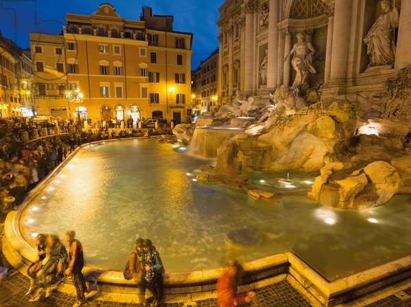 The 18th century Baroque Trevi Fountain designed by Nicola Salvi, Rome, Italy (photo)