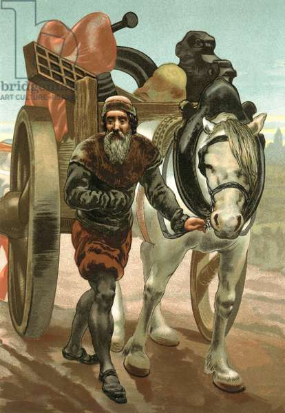Gutenburg, expelled from Strasbourg, taking his printing press with him