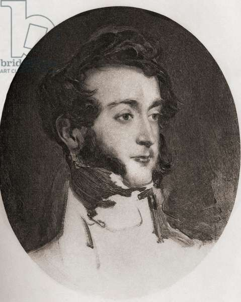 """Emich Charles Leiningen 2nd Prince of Leiningen 1763-1814 Engraved by Emery Walker from the sketch by Sir David Wilkie. From the book """"The Letters of Queen Victoria 1844-1853 Vol II""""published 1907."""