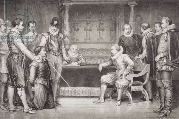 Guy Fawkes (1570-1606) interrogated by James I (1566-1625) and his council in the King's bedchamber, from 'Illustrations of English and Scottish History' Volume I (engraving)