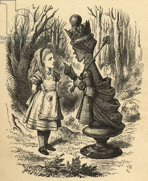 Alice and the Red Queen, illustration from 'Through the Looking Glass' by Lewis Carroll (1832-98) first published 1871 (litho)