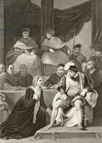 Catherine of Aragon kneeling before her husband King Henry VIII during the trial of their marriage, from 'The National and Domestic History of England' by William Hickman Smith Aubrey (1858-1916) published London, c.1890 (litho)