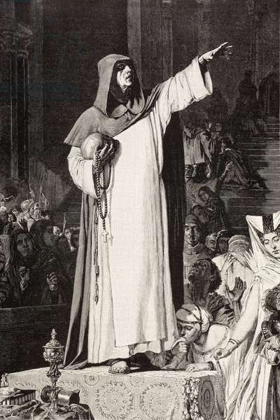 Girolamo Savonarola (1452 – 1498), Italian Dominican friar preaching against immorality and luxury which would tempt sin, after a work by De Langemantels, from 'El Mundo Ilustrado', published Barcelona, circa 1880