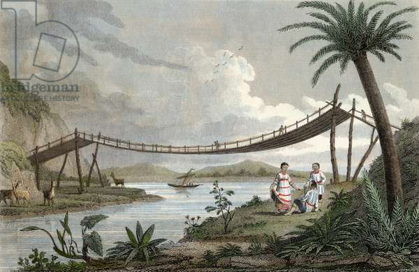 A bridge of ropes near Penipel. Engraved by Storer. Published September 1, 1820