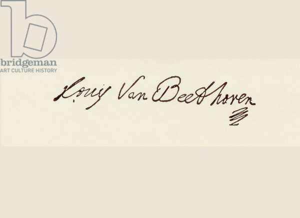 Signature of Ludvig van Beethoven (pen & ink)