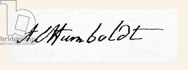 Signature of Friedrich Wilhelm Heinrich Alexander von Humboldt, from Meyers Lexicon, pub. 1924