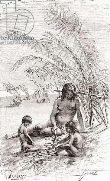 A family of Sápara natives on a sandbank beside the Napo river, Ecuador (engraving)