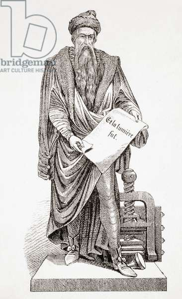 Johannes Gutenberg, from L'Histoire Universelle Ancienne et Moderne, published in Strasbourg c.1860 (engraving)