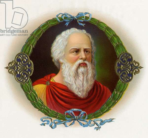 Socrates, illustration from a cigar box, early 20th century (chromolitho)