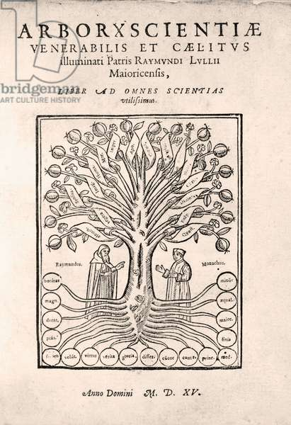 Title page of The Tree of Science, or Arbre de la ciència or Arbor Scientiae or Arborxscientiae, by Ramon Llull c.1295, 1505 (woodcut)