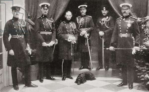 Lord Kitchener and his personal staff in India.  From left to right: Lieut. G.G.E. Wylly, Captain N.J.C. Livingstone-Learmonth, Captain O.A.G. Fitzgerald, Colonel W.R. Birdwood, Captain W.F. Basset and Lord Kitchener.    Field Marshal Horatio Herbert Kitchener, 1st Earl Kitchener, 1850 – 1916. British Field Marshal.   From Field Marshal Lord Kitchener, His Life and Work for the Empire, published 1916.