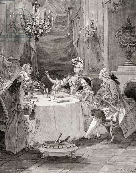 Madame Pompadour entertaining guests in the 18th century, from 'Histoire de France', published c.1880 (engraving)