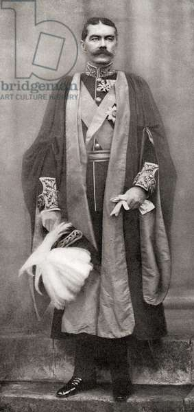 Lord Kitchener in the robes of an LL.D.- Doctor of Laws -of Cambridge University, November 24th, 1898.  Field Marshal Horatio Herbert Kitchener, 1st Earl Kitchener, 1850 – 1916. British Field Marshal.   From Field Marshal Lord Kitchener, His Life and Work for the Empire, published 1916.