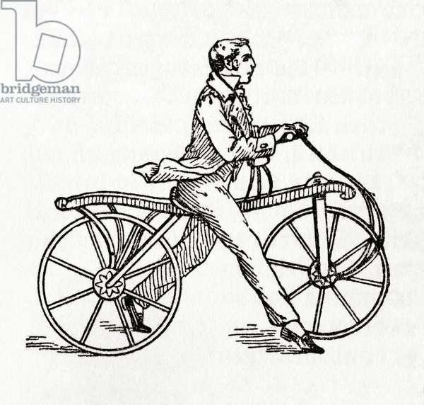 A dandy horse or running machine aka Draisine or Velocipede, from Meyers Lexicon, pub. 1924
