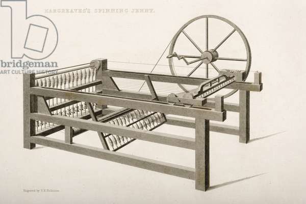 The Spinning Jenny, invented by James Hargreaves in 1764, 1835 (litho)