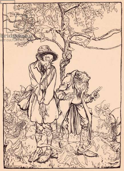 'When it was sharp enough, he looked round at the strangers', illustration from 'Grimm's Fairy Tale, The Little Folk's Presents' (litho)
