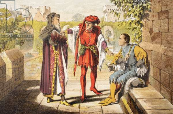 Warwick speaks in King Henry VI, Act II, Scene II, 'Be we the first that shall salute our rightful sovereign', from 'The Illustrated Library Shakespeare', published London 1890 (colour litho)