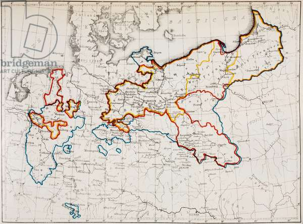 The Kingdom of Prussia between 1740 and 1815.  Yellow outline; in 1740 at the Accession of Friedrich II: red outline; in 1786 at the death of Friedrich II:  blue outline; in 1815 at the Congress of Vienna.  From Friedrich II of Prussia, by Thomas Carlyle. Chapman and Hall, 1869.