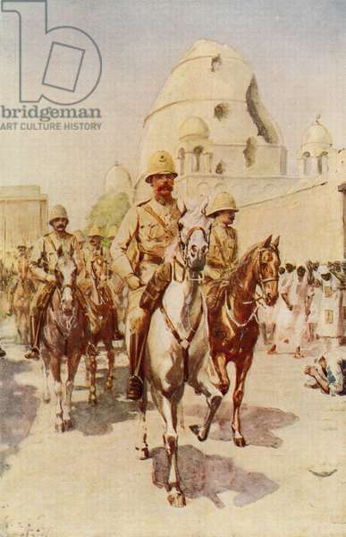 Lord Kitchener entering Omdurman, Khartoum, Sudan, after the battle, 1898.   After a painting by Charles M. Sheldon.  Field Marshal Horatio Herbert Kitchener, 1st Earl Kitchener, 1850 – 1916. British Field Marshal.   From Field Marshal Lord Kitchener, His Life and Work for the Empire, published 1916.