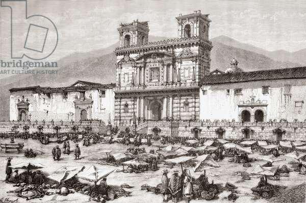 The Cathedral,  Plaza de la Independencia aka La Plaza Grande, Quito, Ecuador (engraving)
