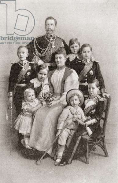 Kaiser Wilhelm II with his wife Augusta Victoria and their family.  Wilhelm II or William II,  1859 –1941.  Last German Emperor (Kaiser) and King of Prussia.  Augusta Victoria of Schleswig-Holstein, 1858 – 1921.  From The Strand Magazine, published 1896