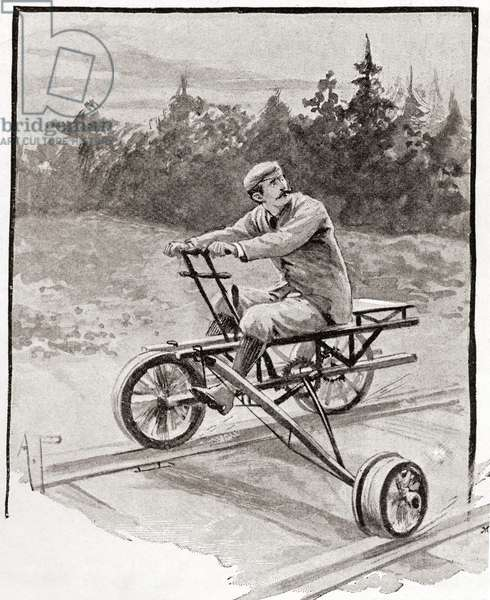 A nineteenth century three wheeled velocipede on a railroad track.  From The Strand Magazine, published 1896