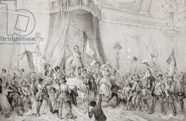 The Paris Revolution of 1848, the mob in the throne room of the Tuileries.  From Edward VII His Life and Times, published 1910.