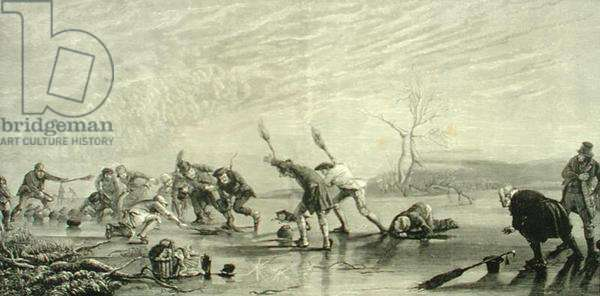 Curling in c.1880, from 'Scottish Pictures', published by the Religious Tract Society, 1886 (engraving)