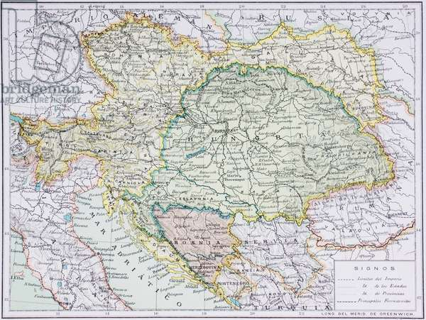 Map of the Austro-Hungarian Empire at the turn of the 20th century, from 'Enciclopedia Ilustrada Seguí', published c.1910 (colour litho)