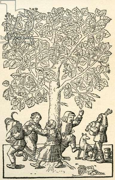 Under the village Linden Tree, after a 16th century engraving by  Kandel.  From Illustrierte Sittengeschichte vom Mittelalter bis zur Gegenwart by Eduard Fuchs, published 1909.