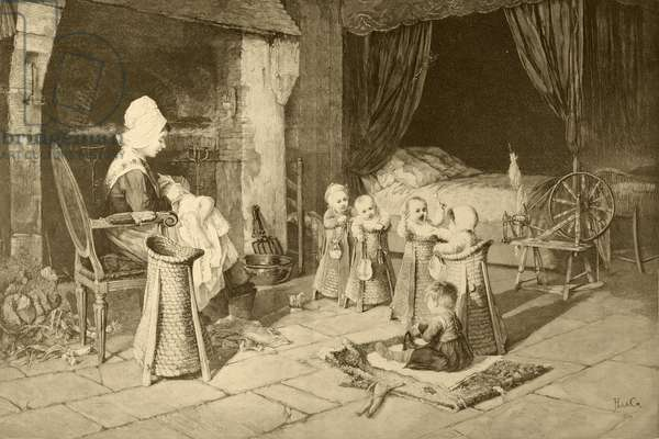 Children's home in a village, after a painting by Haag, from 'Album Artistico', published c.1890 (litho)