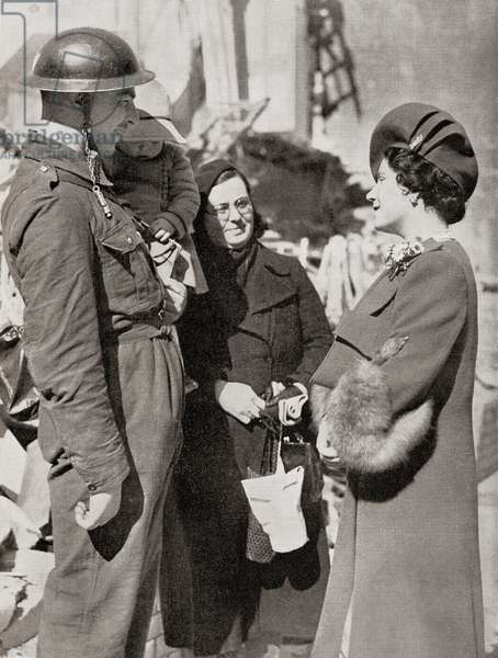 Queen Elizabeth visiting Britain's bombed towns during WWII, seen here in Plymouth (photo)