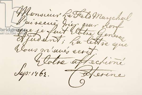 Hand writing sample of Empress Catherine II of Russia, known as Catherine the Great, 1729 - 1796