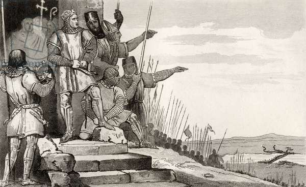 Philippe II Auguste (1165-1223) wins the Battle of Bouvines after prayer, from 'Histoire de France' by Colart, published c.1840 (engraving)