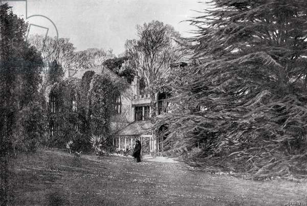 Farringford at Freshwater Bay, home of Alfred Lord Tennyson (1809-92) (litho)