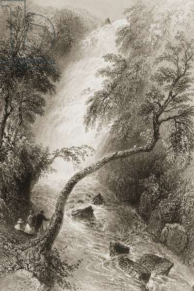Turc Waterfall, County Killarney, Ireland, from 'Scenery and Antiquities of Ireland' by George Virtue, 1860s (engraving)