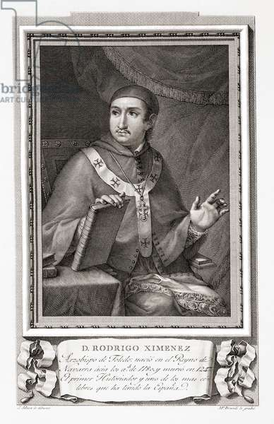 Rodrigo Jiménez or Ximénez de Rada,aka Archbishop Don Roderic of Toledo, after an etching in Retratos de Los Españoles Ilustres, Madrid, Spain, pub. 1791