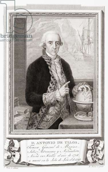 Antonio de Ulloa y de la Torre-Giral, after an etching in Retratos de Los Españoles Ilustres, Madrid, Spain, pub. 1791